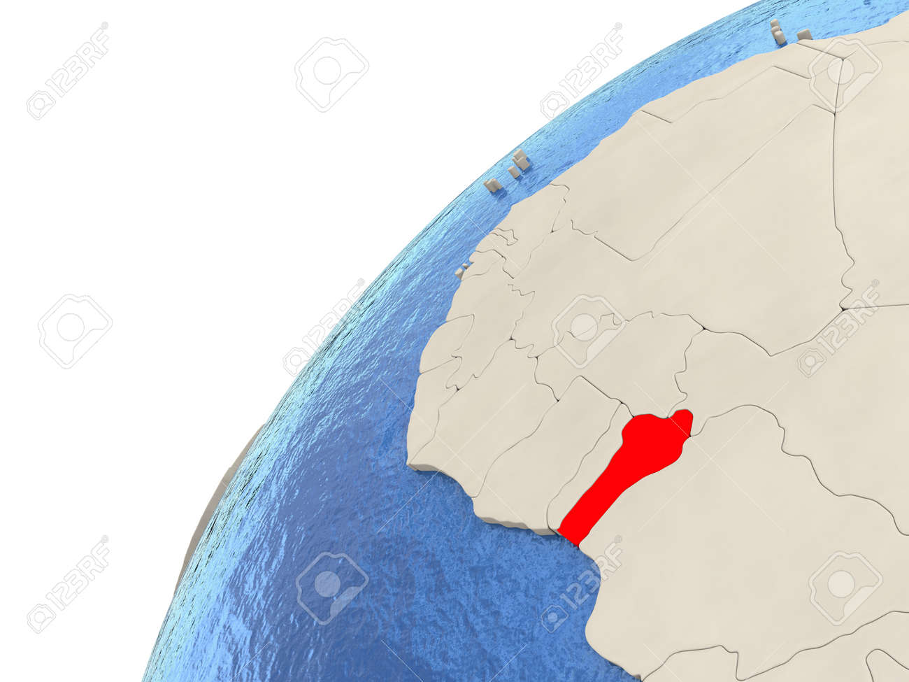 Map Of Benin On Simple Political Globe With Watery Blue Oceans ...