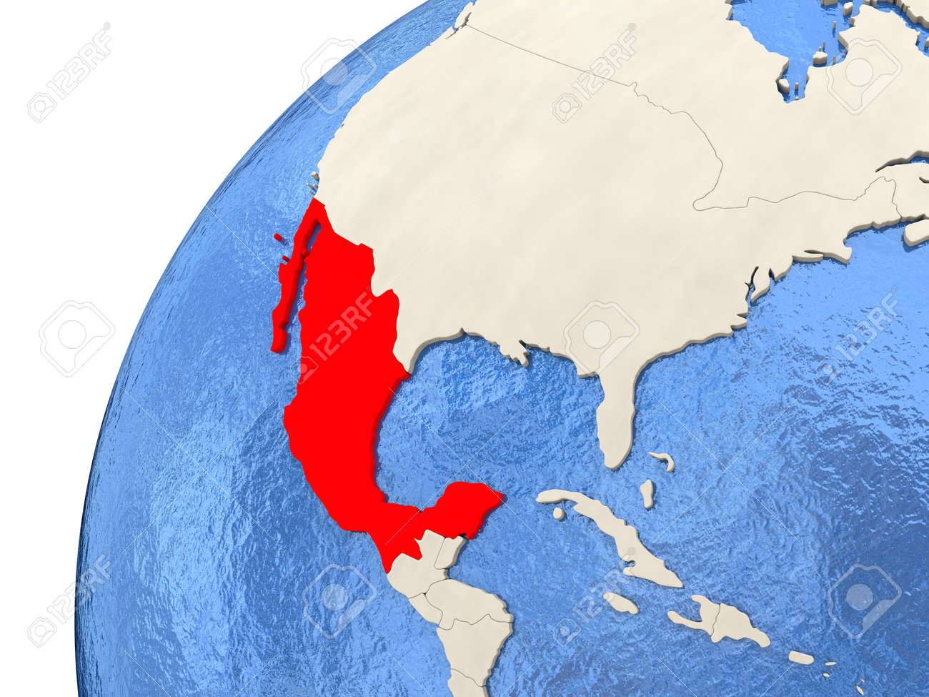 Map Of Mexico On Simple Political Globe With Watery Blue Oceans