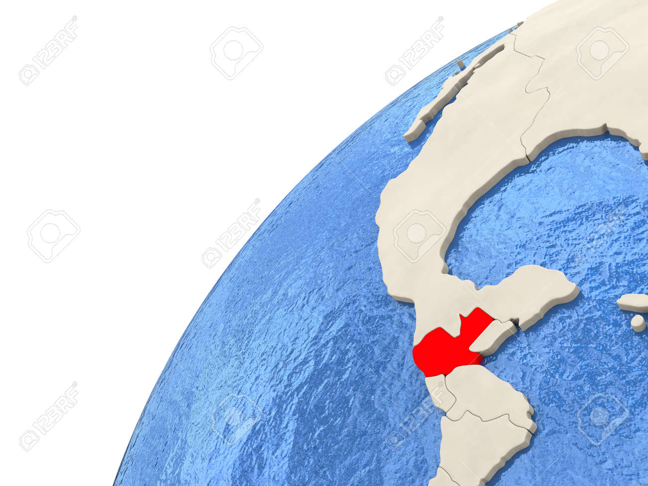 Map Of Guatemala On Simple Political Globe With Watery Blue Oceans