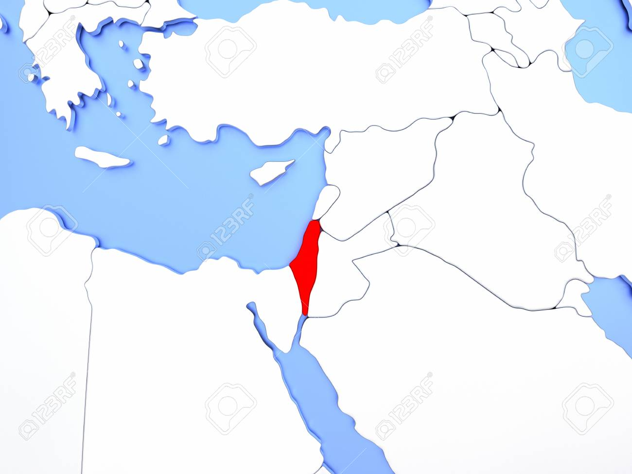 Map of israel highlighted in red on simple shiny metallic map illustration map of israel highlighted in red on simple shiny metallic map with clear country borders 3d illustration gumiabroncs Images