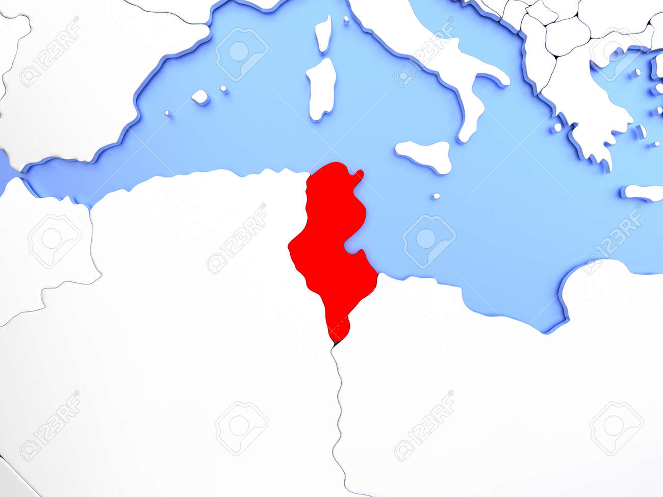 Picture of: Map Of Tunisia Highlighted In Red On Simple Shiny Metallic Map Stock Photo Picture And Royalty Free Image Image 72318289