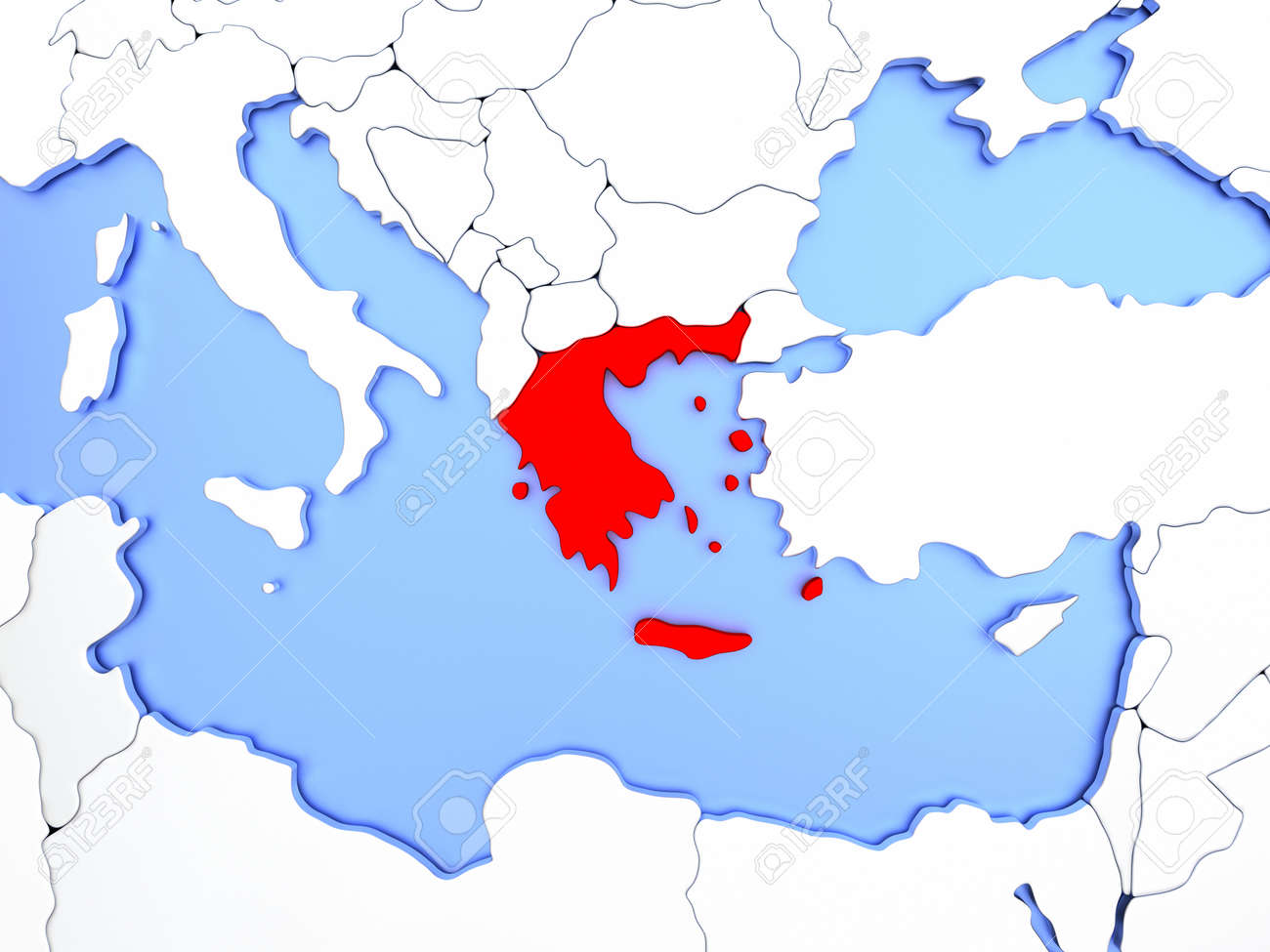 Map of greece highlighted in red on simple shiny metallic map illustration map of greece highlighted in red on simple shiny metallic map with clear country borders 3d illustration gumiabroncs Choice Image
