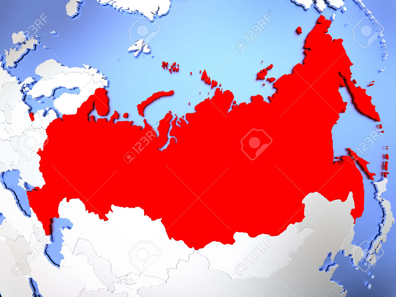 Map Of Russia Highlighted In Red On Simple Shiny Metallic Map ...