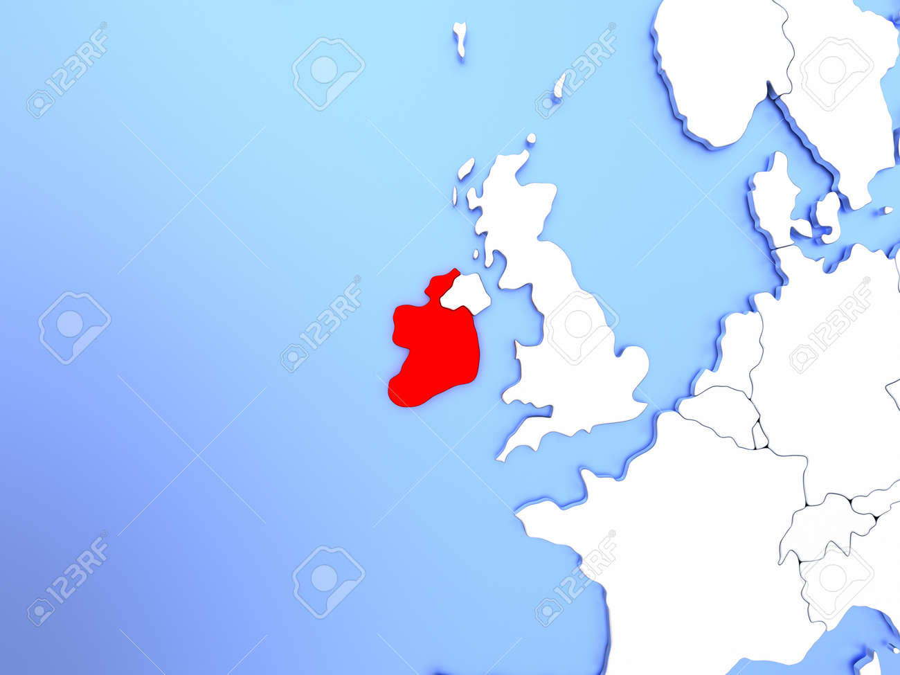 Simple Map Of Ireland.Map Of Ireland Highlighted In Red On Simple Shiny Metallic Map