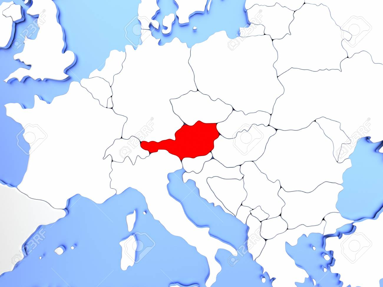 Image of: Map Of Austria Highlighted In Red On Simple Shiny Metallic Map Stock Photo Picture And Royalty Free Image Image 72318364