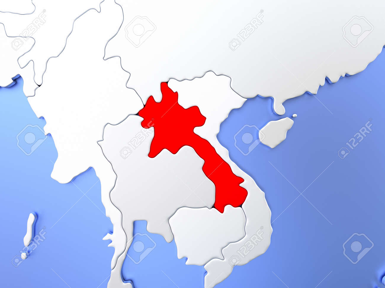 Map Of Laos Highlighted In Red On Simple Shiny Metallic Map With ...