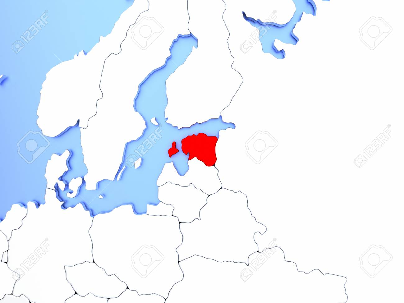 illustration map of estonia highlighted in red on simple shiny metallic map with clear country borders 3d illustration
