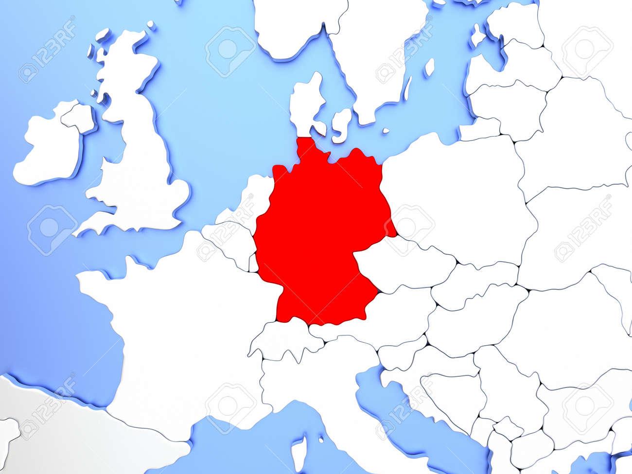 Carte Allemagne Simple.Carte De L Allemagne Surlignee En Rouge Sur Une Simple Carte Metallique Brillante Avec Des Frontieres Claires Illustration 3d