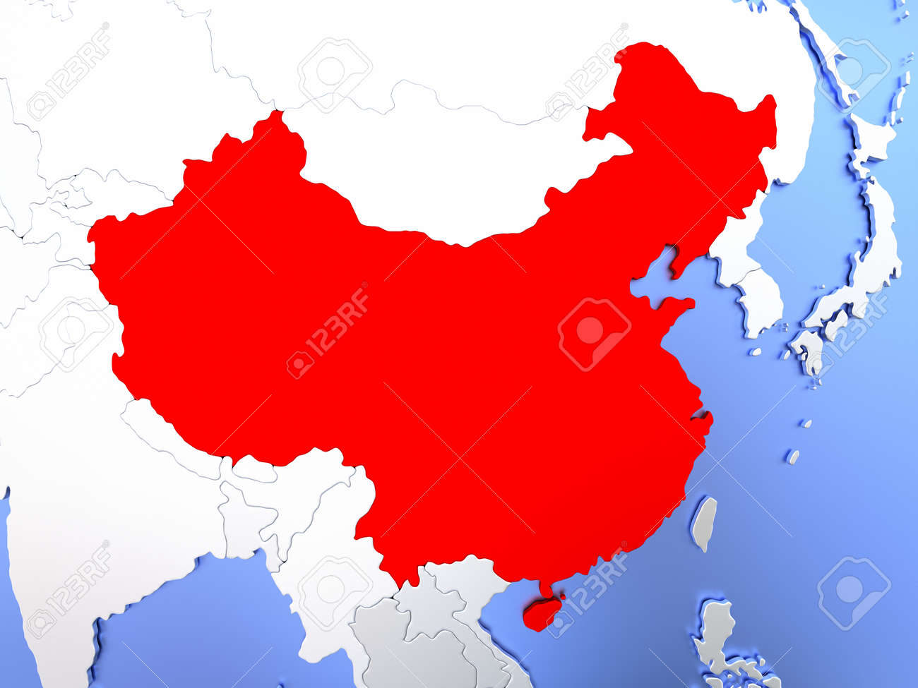 Map Of China Highlighted In Red On Simple Shiny Metallic Map