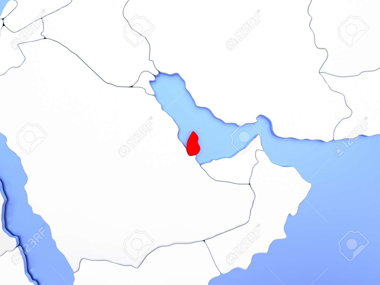 Map Of Qatar Highlighted In Red On Simple Shiny Metallic Map Stock