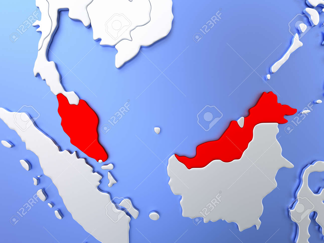 Map Of Malaysia Highlighted In Red On Simple Shiny Metallic Map Stock Photo Picture And Royalty Free Image Image 72318403