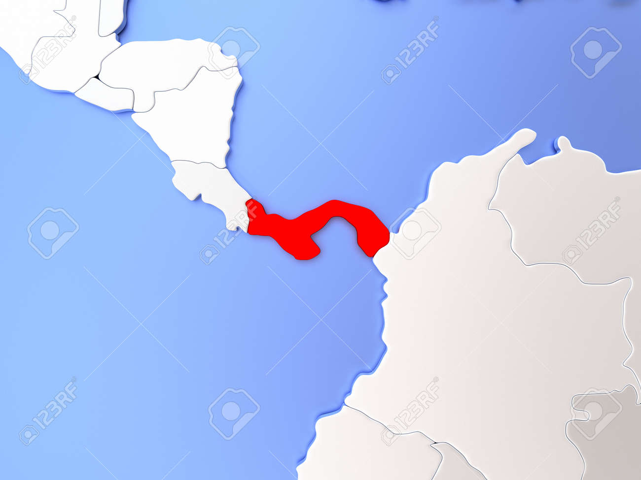 Map Of Panama Highlighted In Red On Simple Shiny Metallic Map ...
