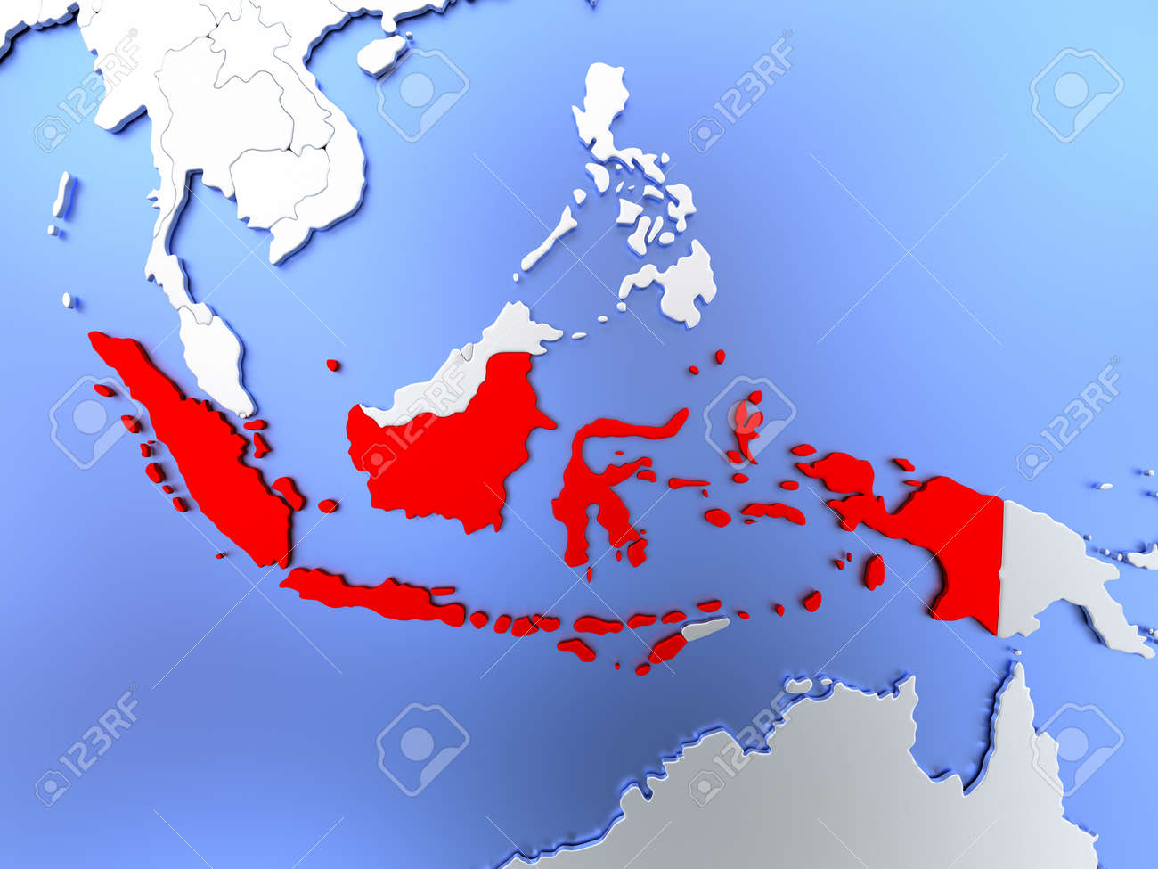 Map of indonesia highlighted in red on simple shiny metallic stock map of indonesia highlighted in red on simple shiny metallic map with clear country borders gumiabroncs Images