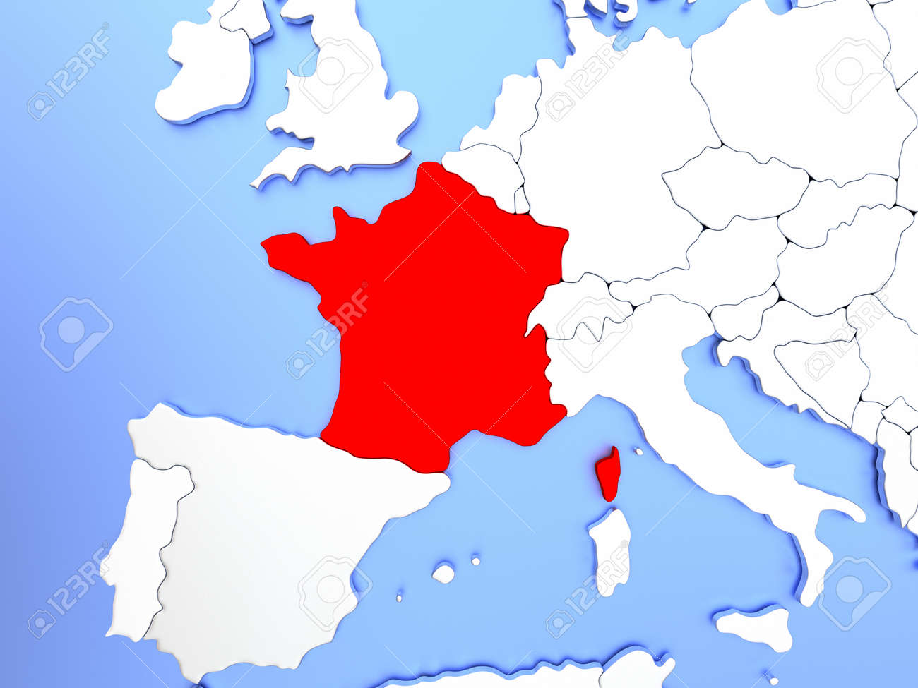 Clear Map Of France.Stock Illustration