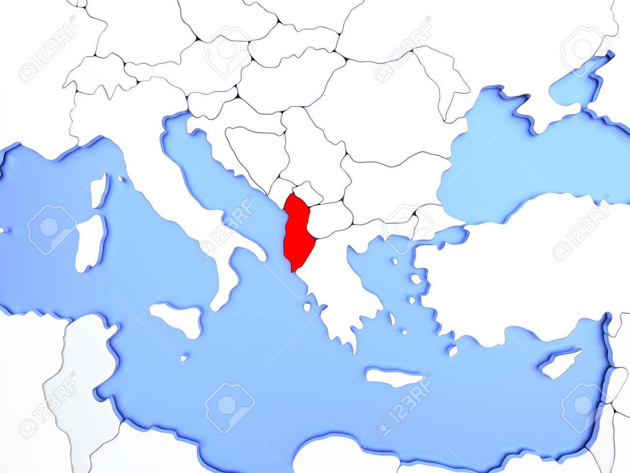 World Map Blank With Countries Border. Map Of Albania Highlighted In Red On Simple Shiny Metallic  Country borders map World Blank With Countries Border New