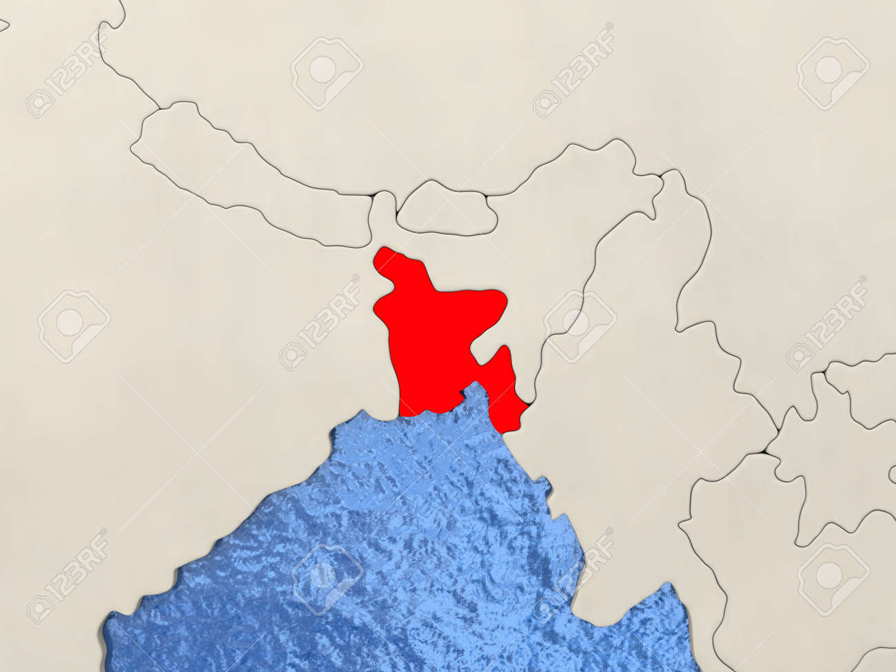 Bangladesh In Red On Political Map With Watery Oceans 3d