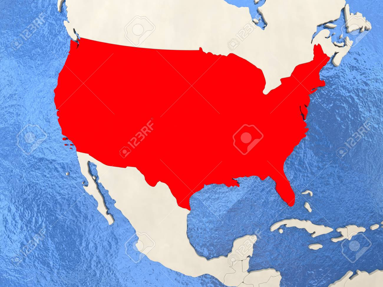 USA In Red On Political Map With Watery Oceans 3D Illustration