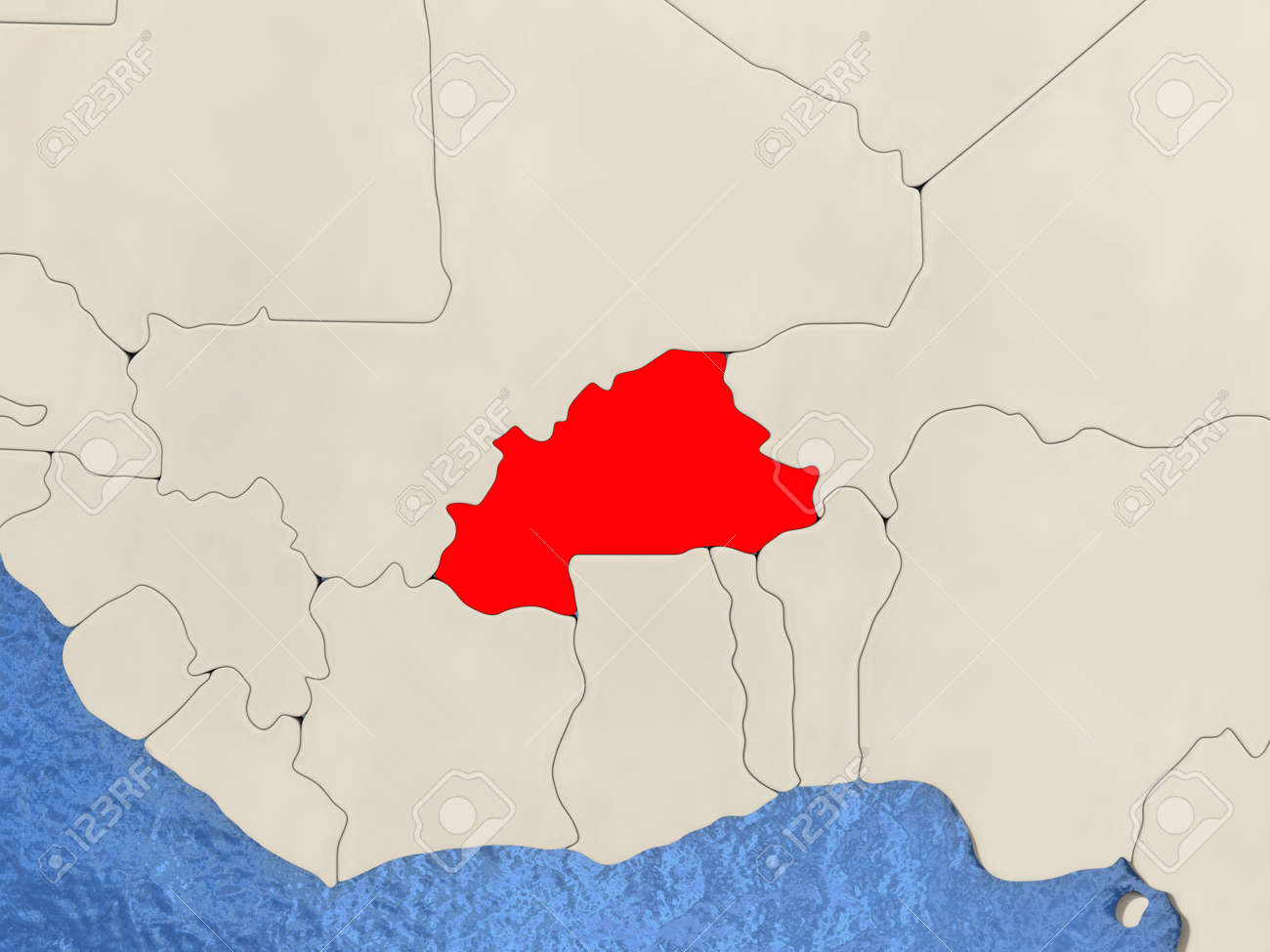 Burkina Faso In Red On Political Map With Watery Oceans 3D