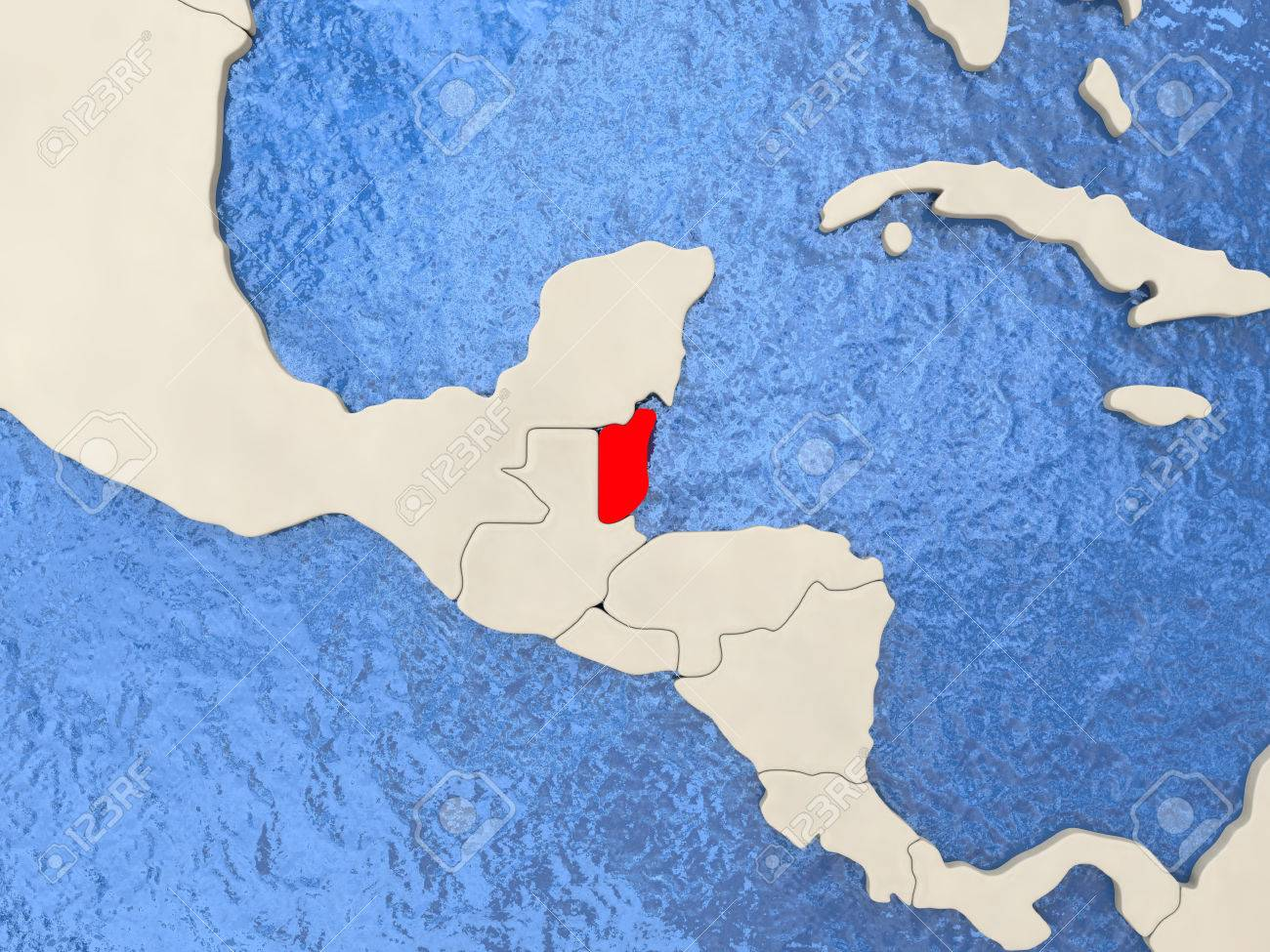 Belize Political Map.Belize In Red On Political Map With Watery Oceans 3d Illustration