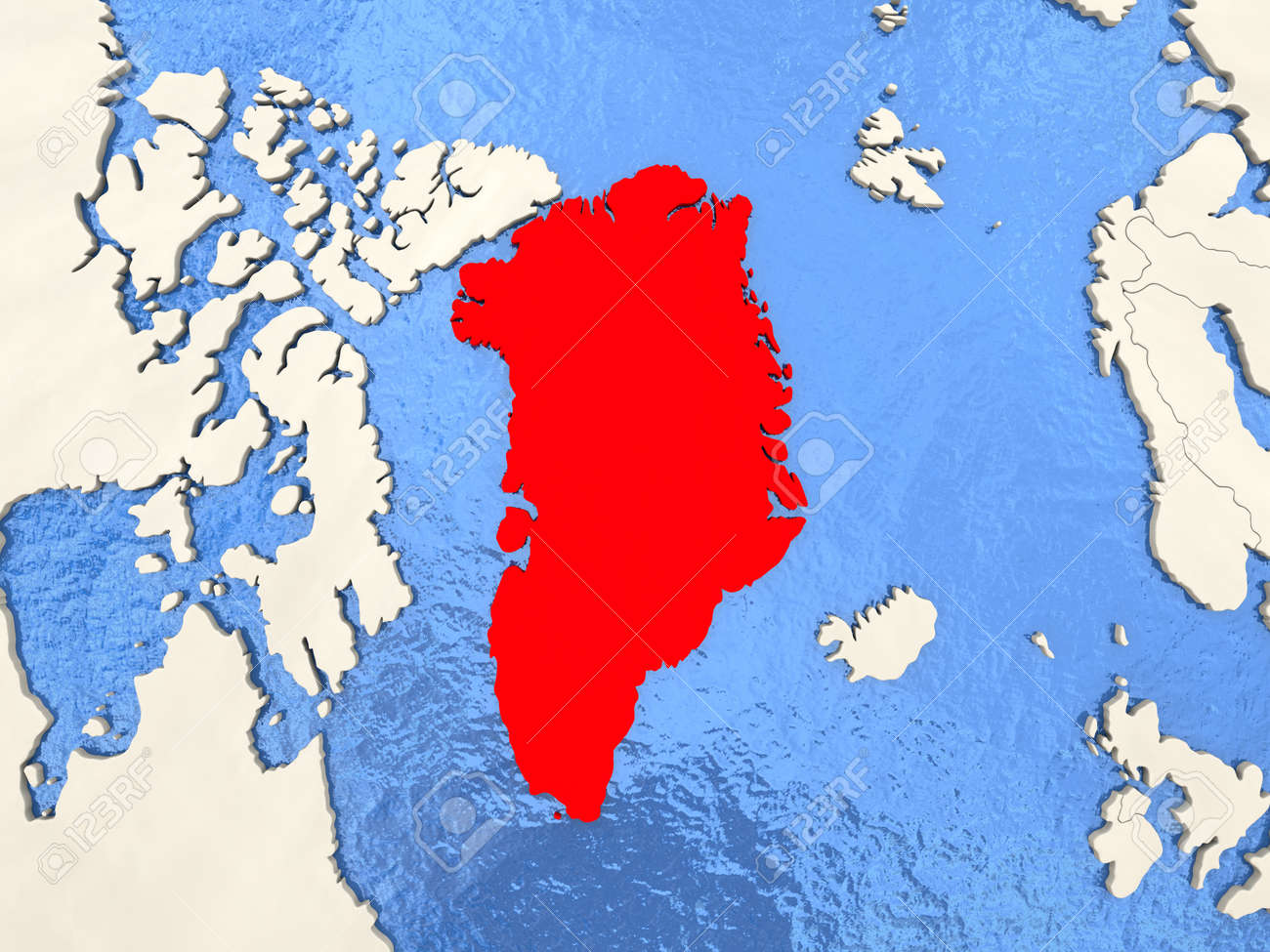 Greenland In Red On Political Map With Watery Oceans 3d