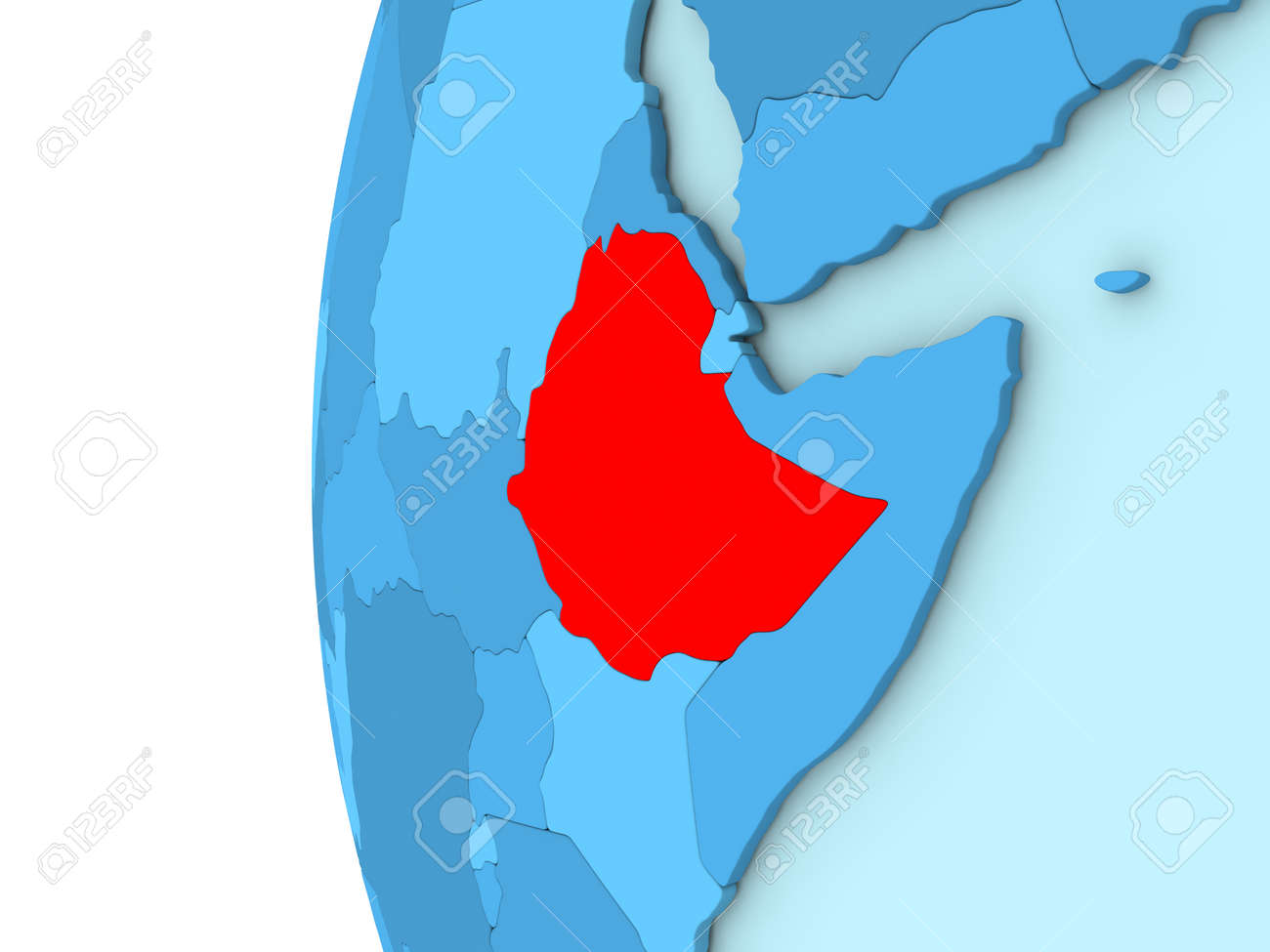 Map Of Ethiopia On Simple Blue. 3D Illustration Stock Photo, Picture ...