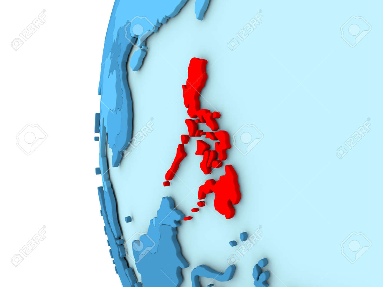Simple Philippines Map.Map Of Philippines On Simple Blue 3d Illustration Stock Photo