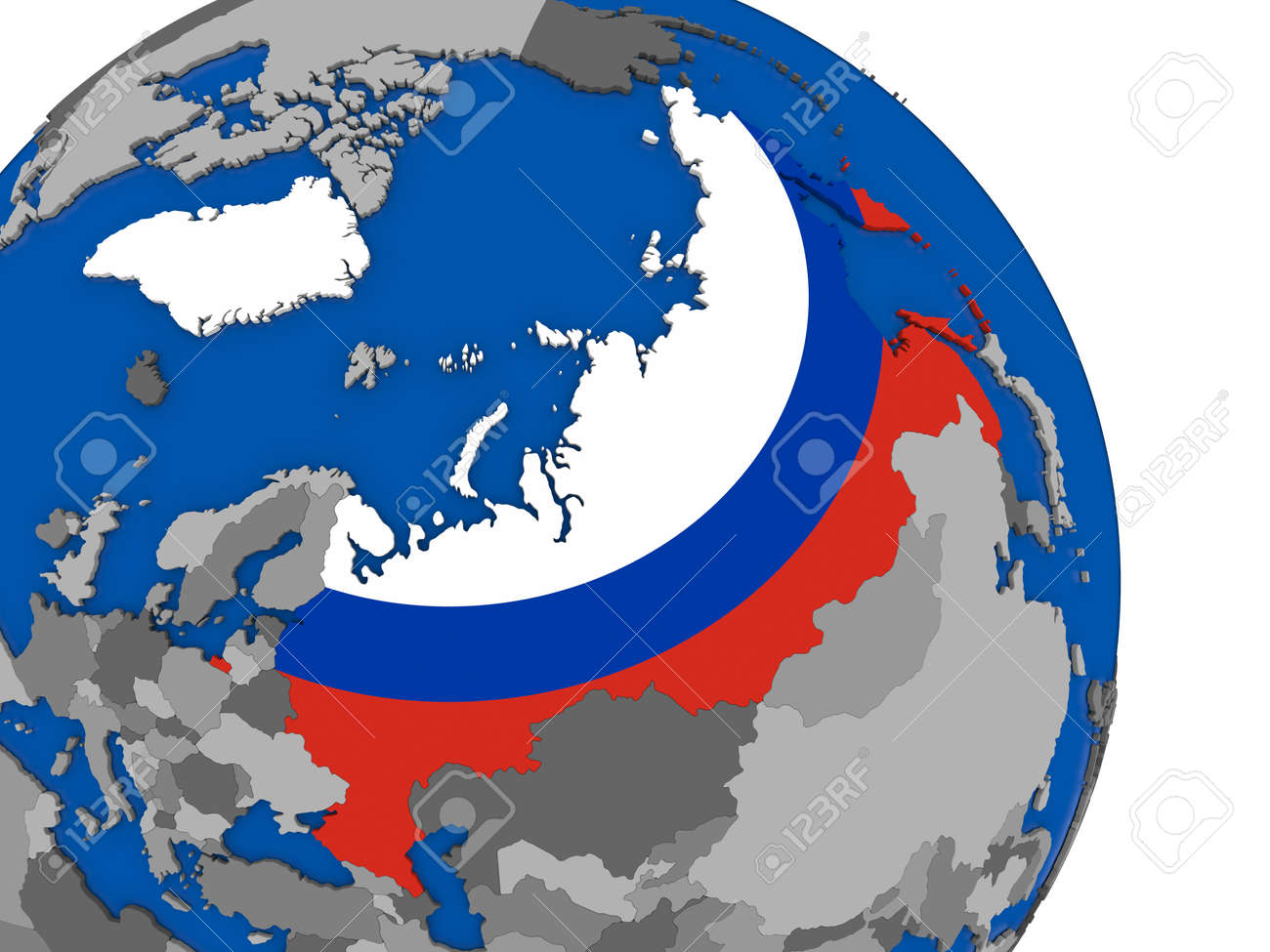 Political Map Russia With National Flag Symbol Embedded Into.. Stock ...