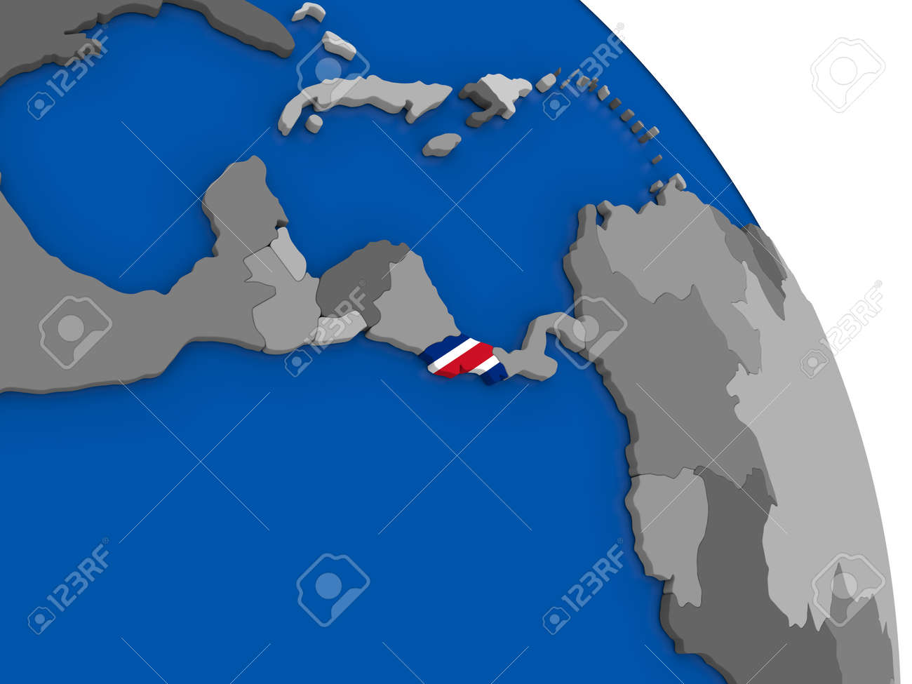 Political Map Costa Rica With National Flag Symbol Embedded Into