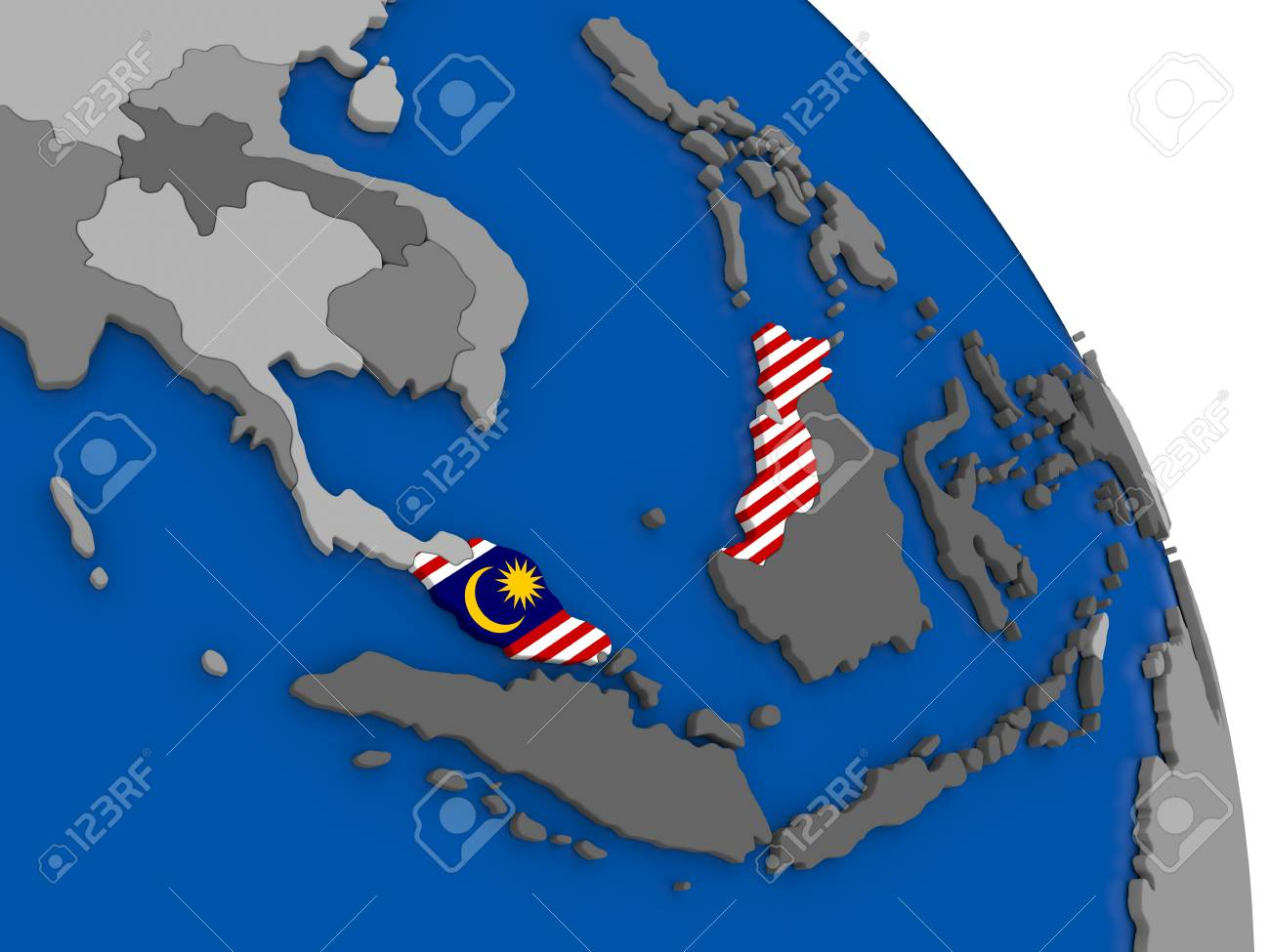 Political Map Malaysia With National Flag Symbol Embedded Into