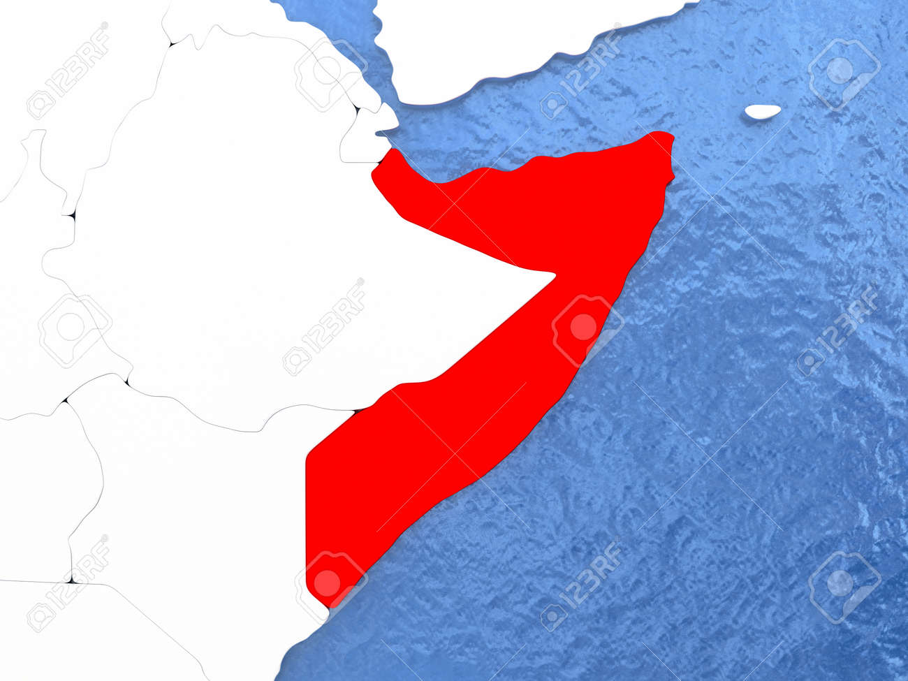 Political Map Somalia In Red 3d Illustration With Watery Blue