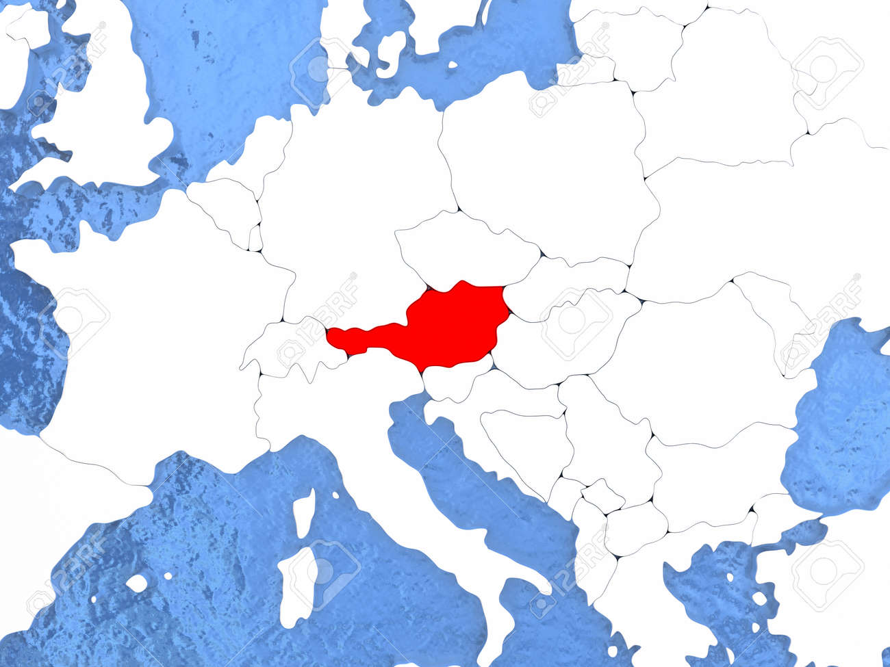 Political Map Austria In Red 3d Illustration With Watery Blue