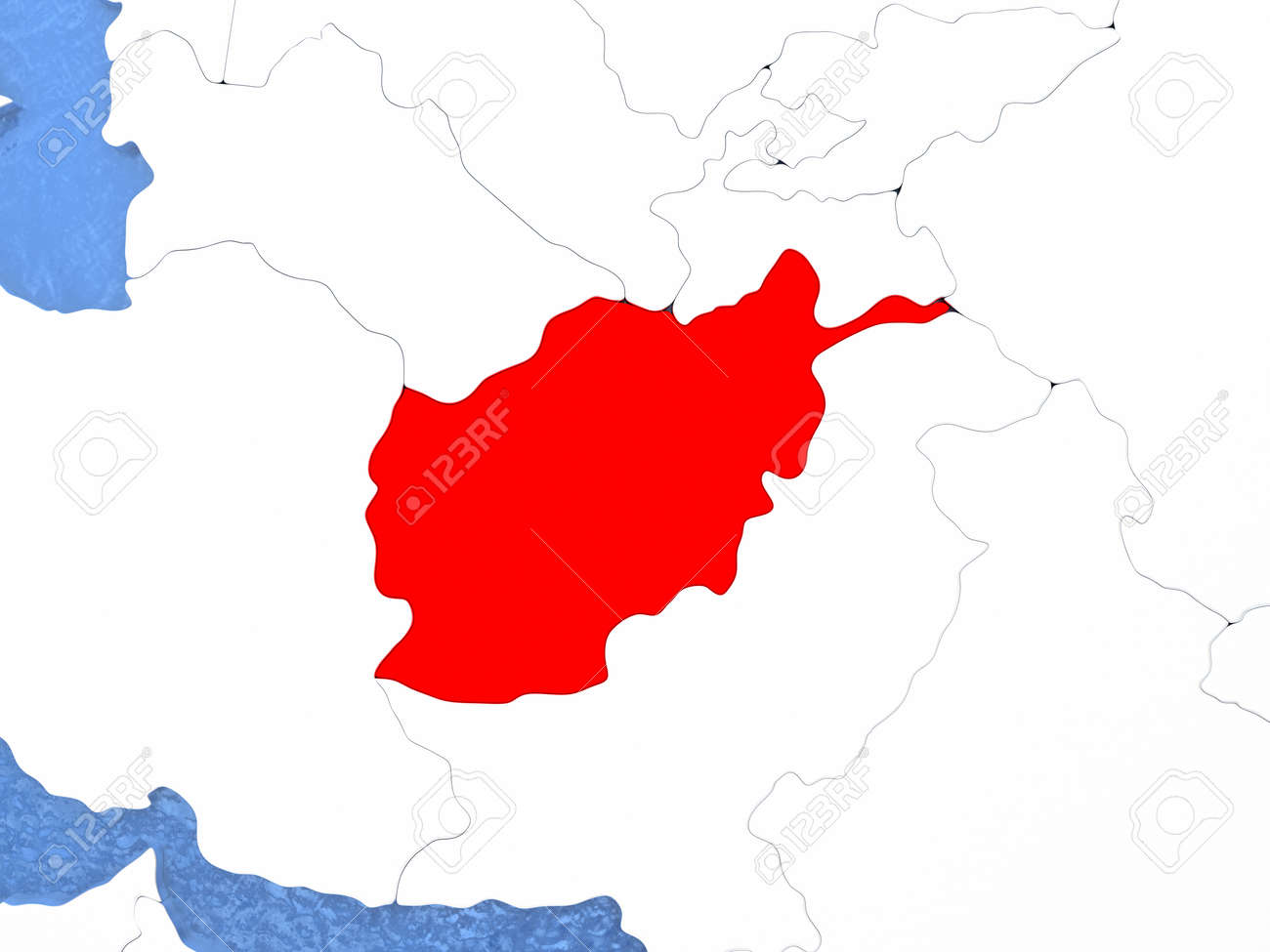 Political Map Afghanistan In Red 3d Illustration With Watery