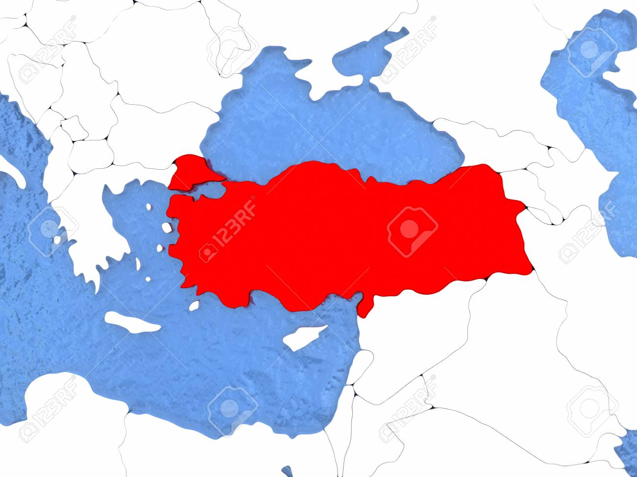 Political Map Turkey In Red 3d Illustration With Watery Blue