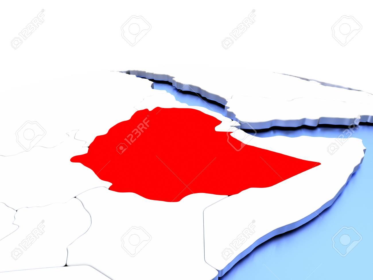 Simple Elegant Line Art : Ethiopia in red color on simple elegant political globe d