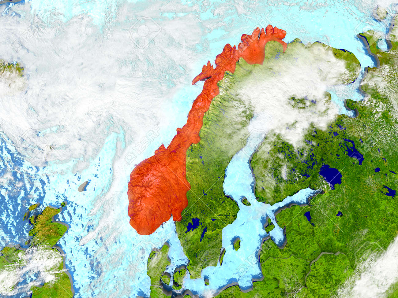 Norway In Red On Map With Detailed Landmass Texture Realistic - Where is norway on a map
