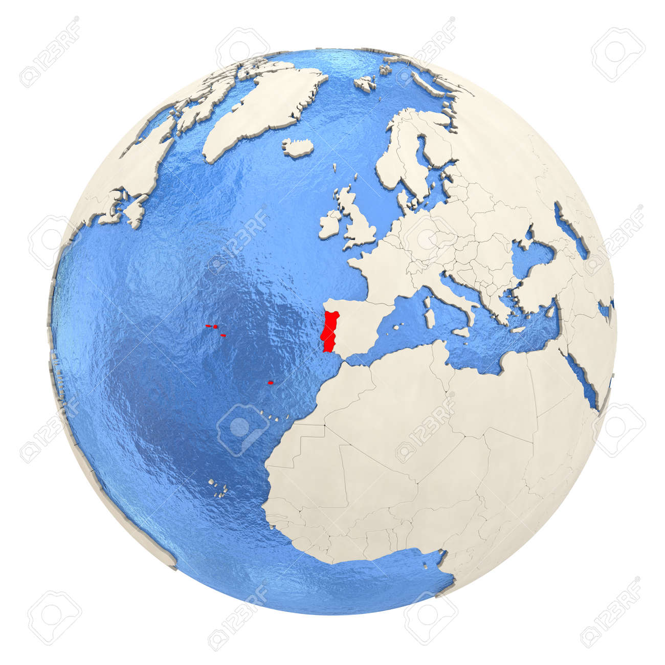 Picture of: Map Of Portugal On Political Globe With Watery Oceans And Embossed Stock Photo Picture And Royalty Free Image Image 73353503