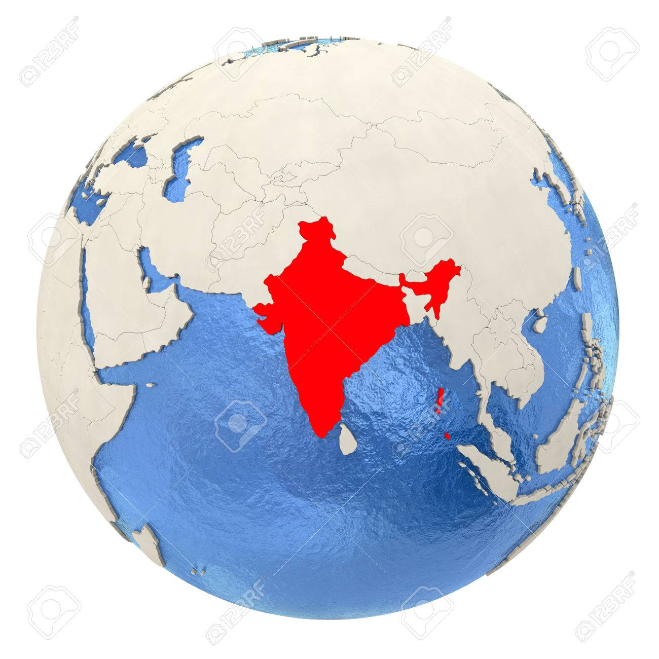 Globe Map Pictures.Map Of India On Political Globe With Watery Oceans And Embossed