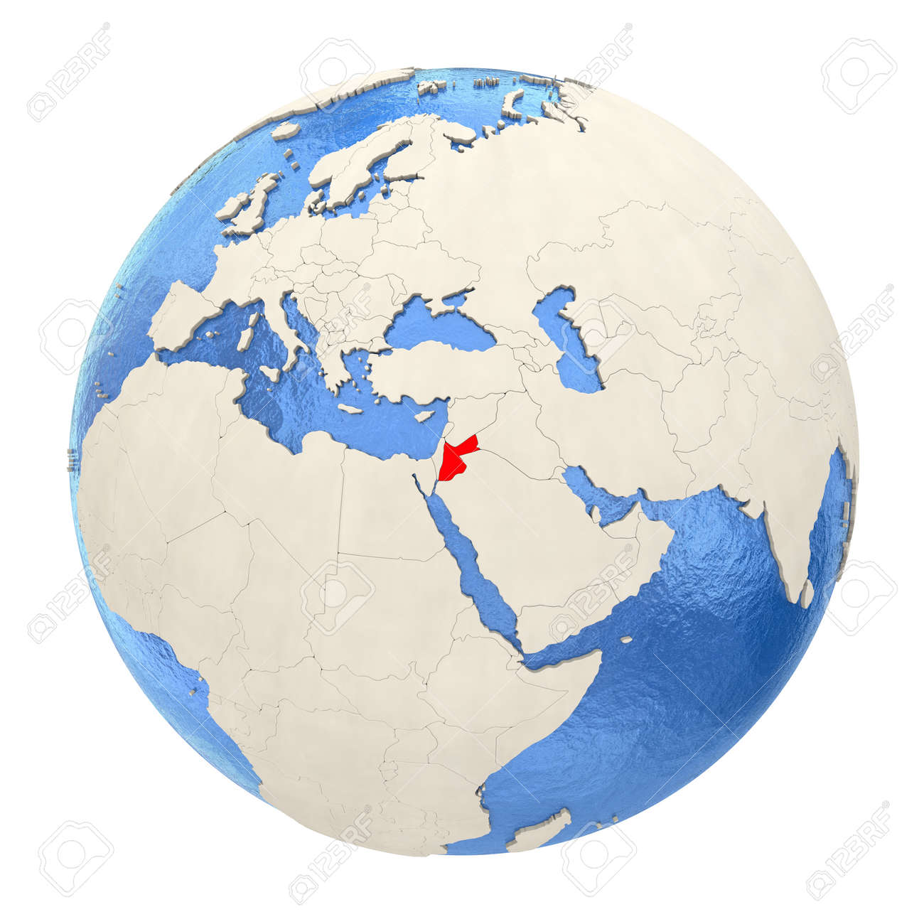 Political Map Of Jordan.Map Of Jordan On Political Globe With Watery Oceans And Embossed