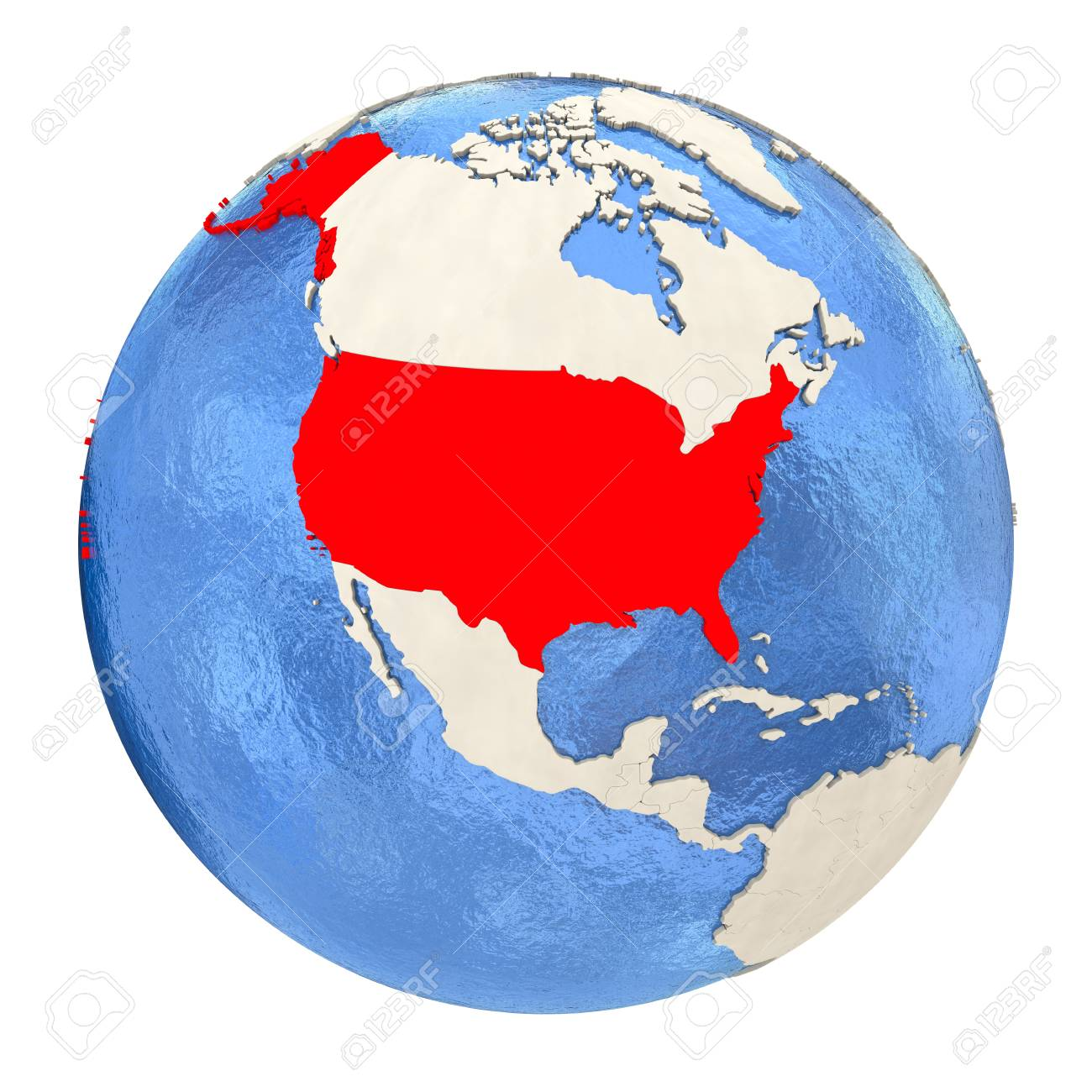 Map Of USA On Political Globe With Watery Oceans And Embossed ...