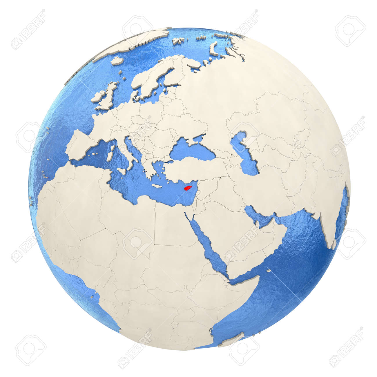 Picture of: Map Of Cyprus On Political Globe With Watery Oceans And Embossed Stock Photo Picture And Royalty Free Image Image 73353689