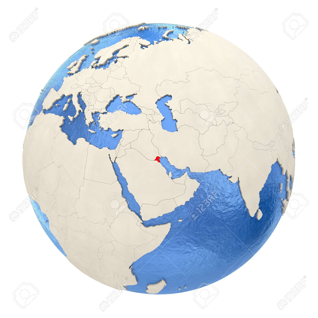 Map Of Kuwait On Political Globe With Watery Oceans And Embossed Stock Photo Picture And Royalty Free Image Image 73353695