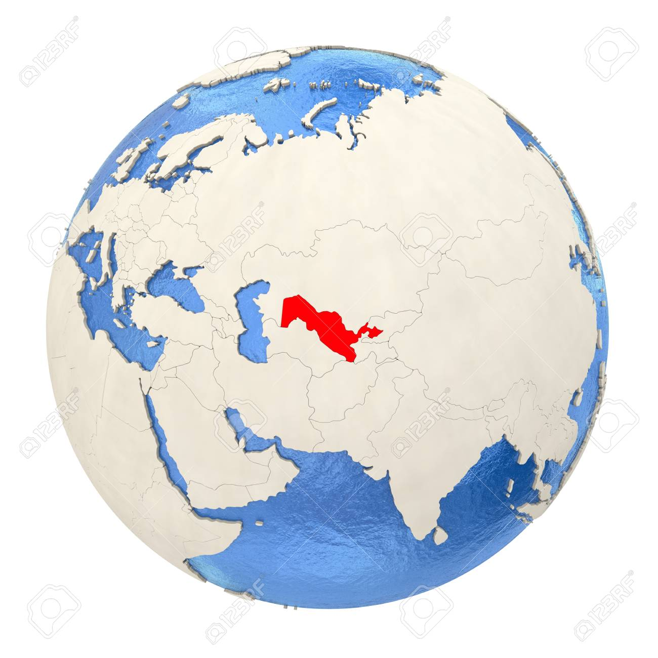 Image of: Map Of Uzbekistan On Political Globe With Watery Oceans And Embossed Stock Photo Picture And Royalty Free Image Image 73353701