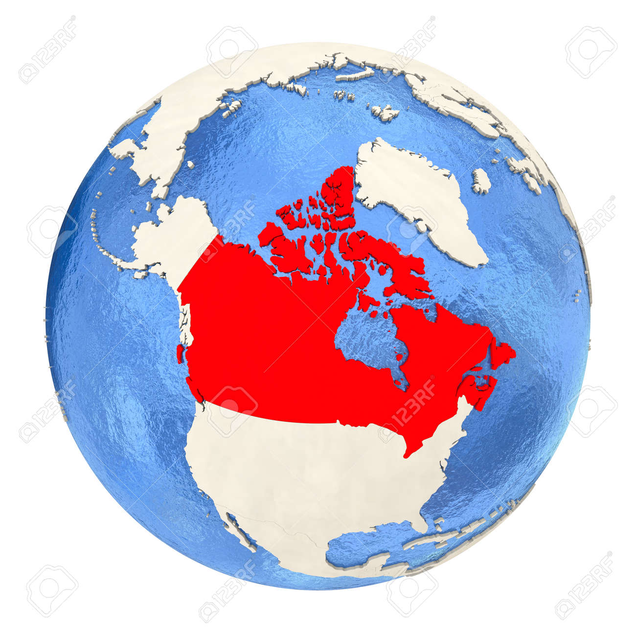 Map Of Canada On Globe.Map Of Canada On Political Globe With Watery Oceans And Embossed
