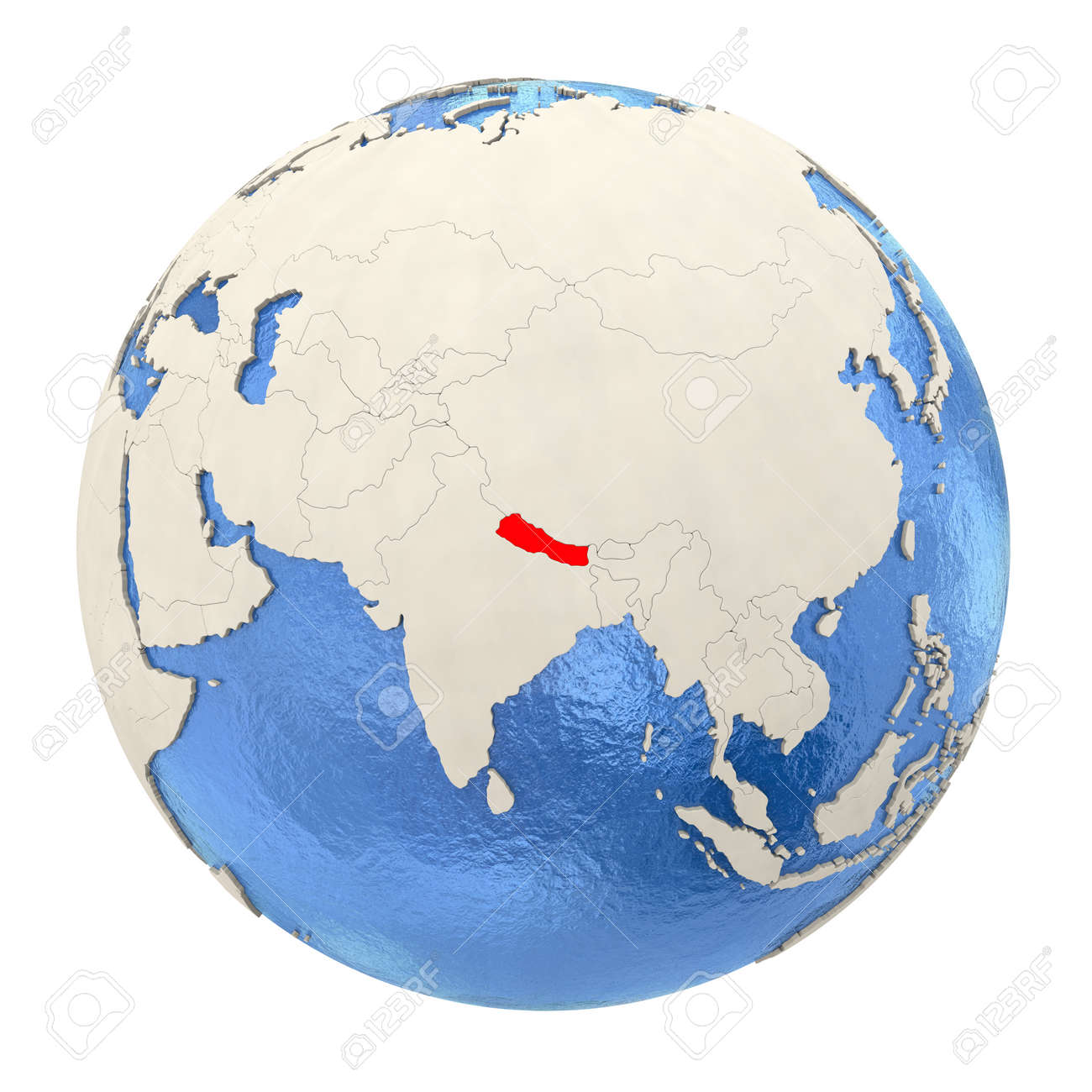 Image of: Map Of Nepal On Political Globe With Watery Oceans And Embossed Stock Photo Picture And Royalty Free Image Image 73353724