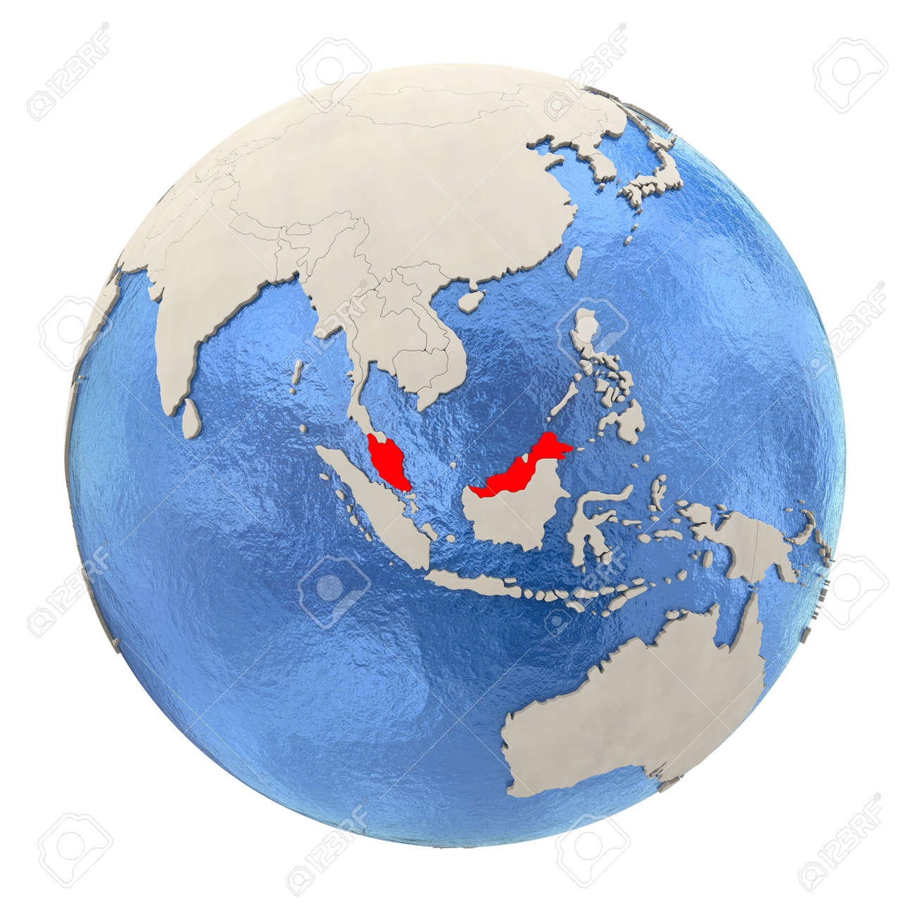 map of malaysia on political globe with watery oceans and embossed