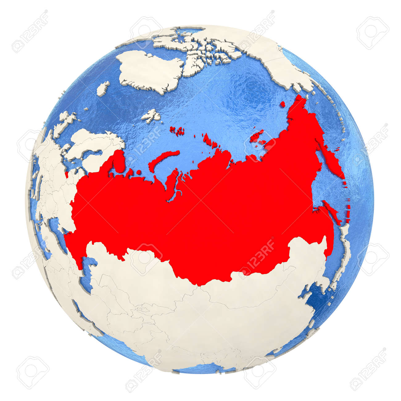 Map Of Russia On Political Globe With Watery Oceans And Embossed ...
