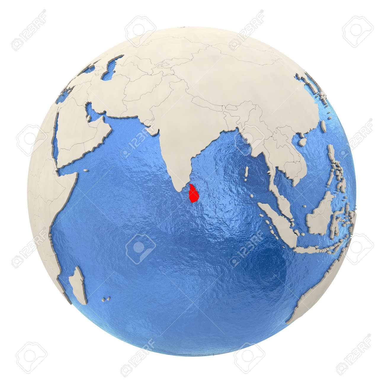Sri Lanka Political Map.Map Of Sri Lanka On Political Globe With Watery Oceans And Embossed