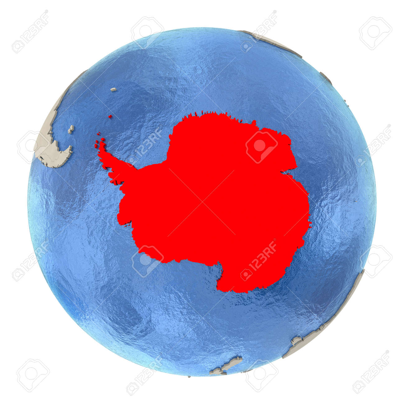 Map of Antarctica on political globe with watery oceans and embossed continents. 3D illustration isolated on white background. - 73353734