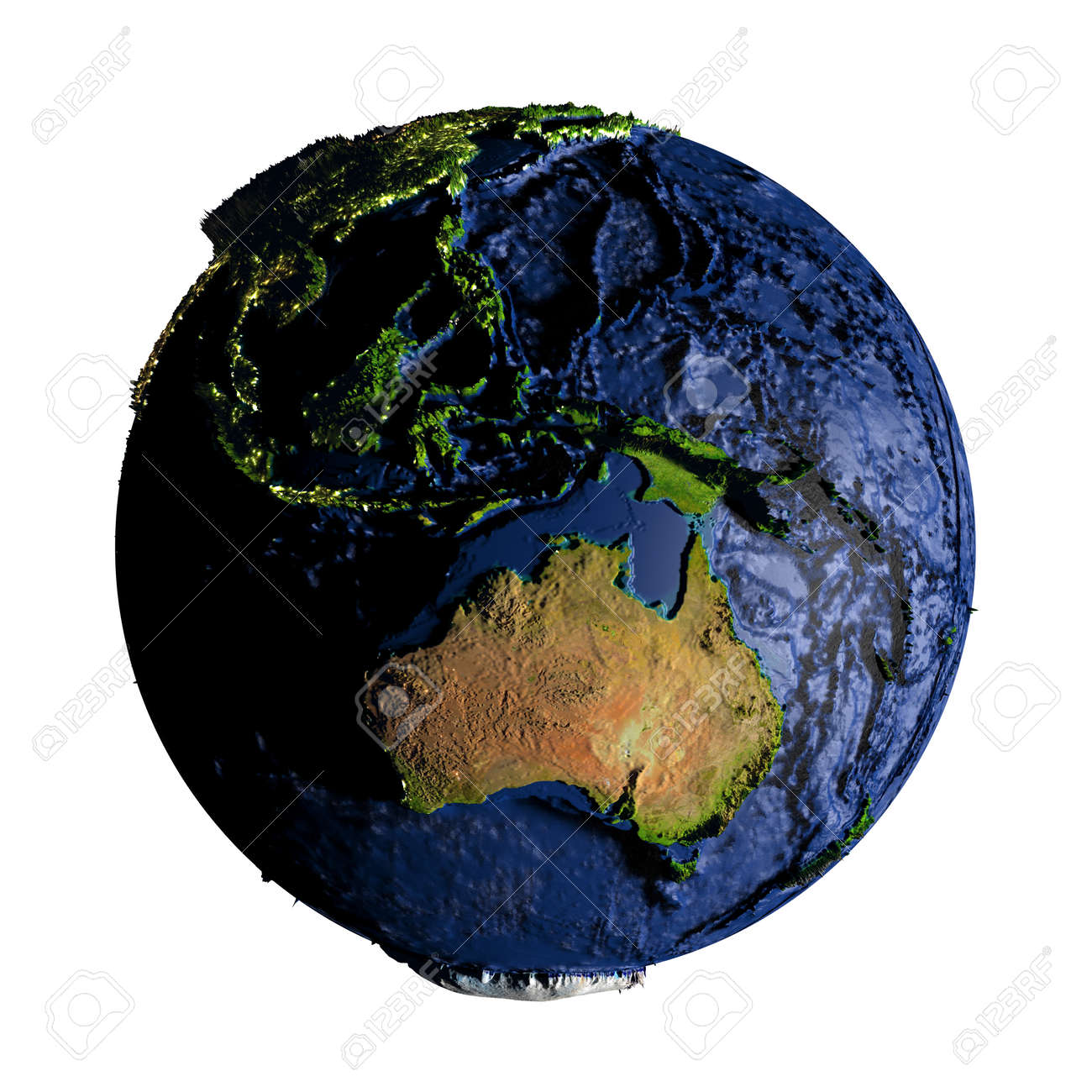 Australia On Planet Earth With Exaggerated Surface Features