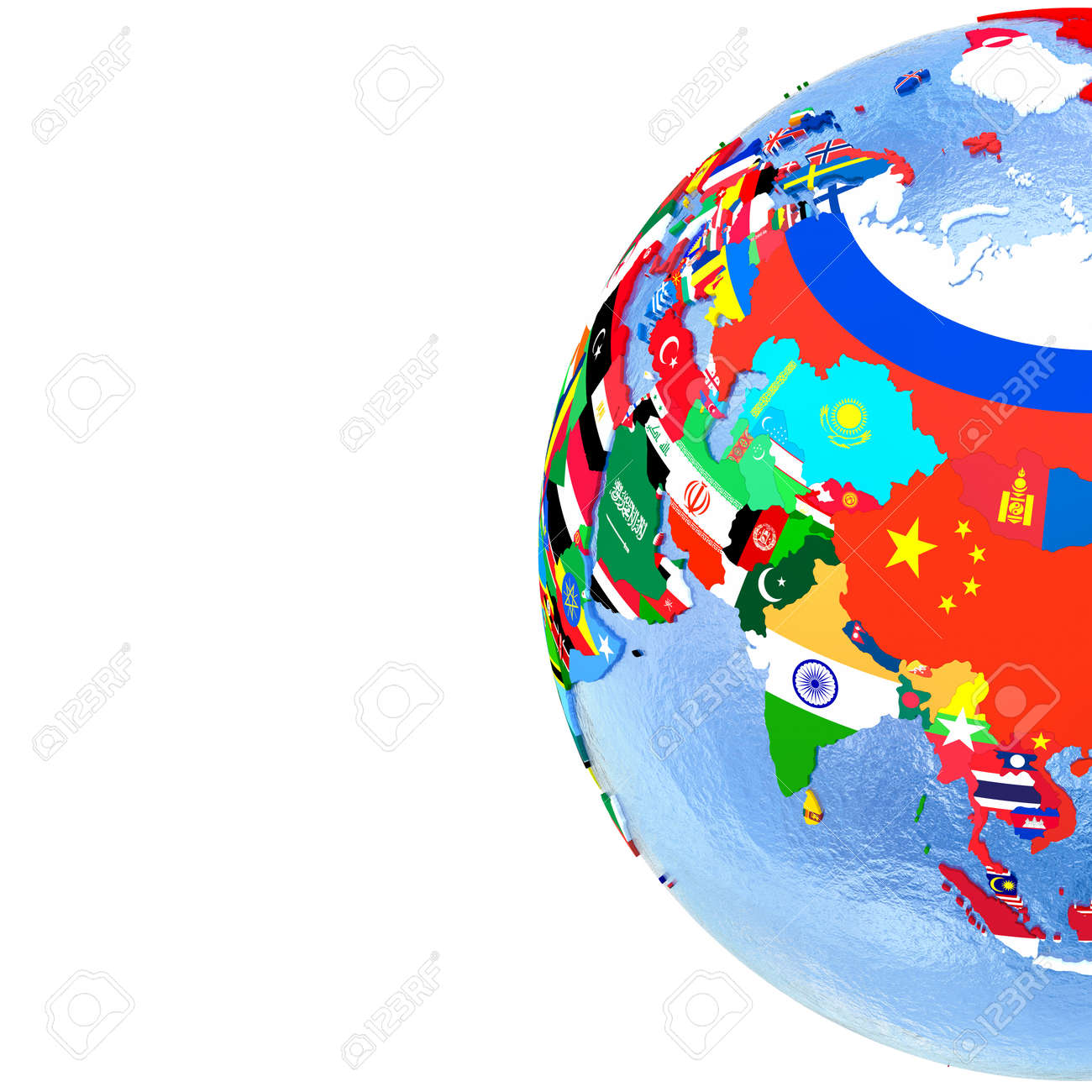 Asia on political globe with national flags embedded in map stock asia on political globe with national flags embedded in map 3d illustration blank space gumiabroncs Choice Image